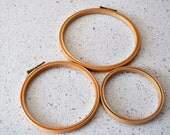 Embroidery Hoops Wooden Vintage set of 3 various sizes