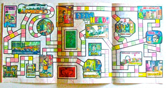 FEDS n' HEADS Vintage 1971 Playboy Magazine Insert Paper Board Game with Playing Cards Pop/Pot Culture Fun Ephemera