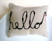 Mini linen pillow -word pillow - hello with a heart