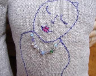 Little linen pillow cat sketchies