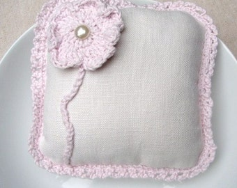 White Linen Pillow with Pink Crochet Flower