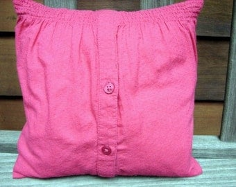 Dorm Room Cosy Pillow - Red Shirt Pillow Cover -- Insert Included