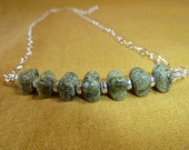 Serpentine Strand Necklace - serpentine russian stone with silver plated spacers and silver plated chain