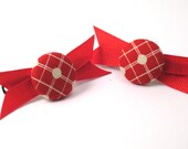 Red and White Fabric Button Barrette, with grosgrain ribbon