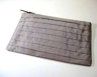 Silver Pleated Silk Clutch