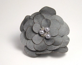 Silver Silk Flower Pin/Clip