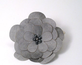 Silver Silk Flower Pin/Clip with Hematite Detail