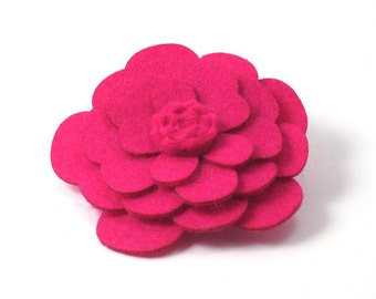 Hot Pink Wool Flower Pin/Clip - Large