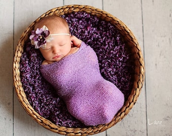Newborn Blanket / Stretch Wrap - LAVENDER Lush Wrap - Newborn Photo Prop - Baby Blanket - knitbysarah - stitches by sarah