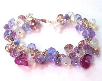 SALE, Purple Amethyst Bracelet, Lavender Crystal Bracelet, Cha Cha Bracelet, sterling silver, spring fashion, flower garden, mothers day
