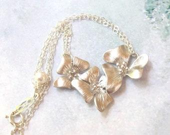 Silver Orchid Bracelet, Flower Bracelet, Bridal Bracelet, sterling silver, matte silver, rhodium, spring fashion, bridal jewelry
