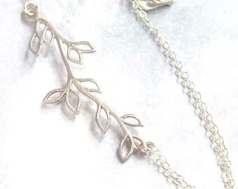 Tree Branch Anklet, Silver Anklet, Plus Size Bracelet, sterling silver, rhodium, spring fashion, woodland,