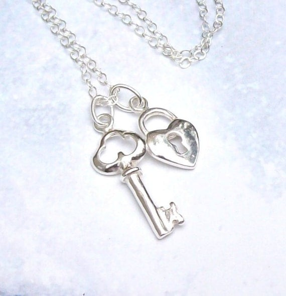 Sterling Silver Heart Lock and Key Necklace, Heart Charm Necklace, Key Charm Necklace, spring fashion, mothers day
