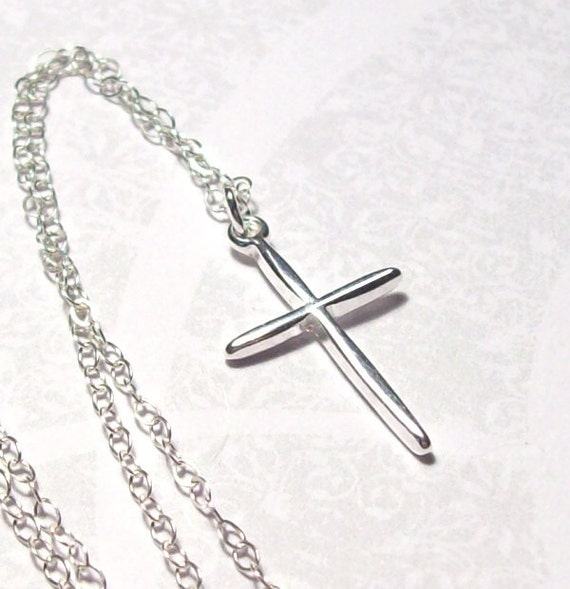 Sterling Silver Cross Necklace, Cross Charm Necklace, fall fashion, religious, christian cross