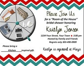 Chevron Bridal Shower Invitation - Room of the House Theme - Printed or printable Digital DIY