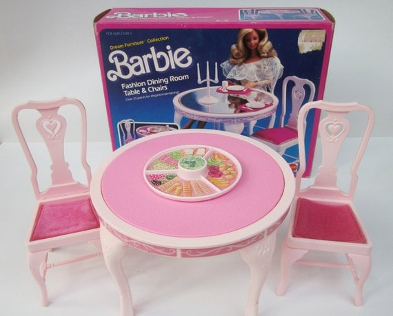 Vintage Barbie 1984 Dining Room Table And Chairs From The
