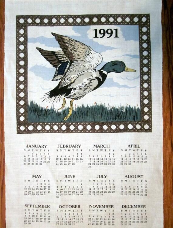 Vintage 1991 Linen Calendar Towel....Mallard Duck...kitsch home decor