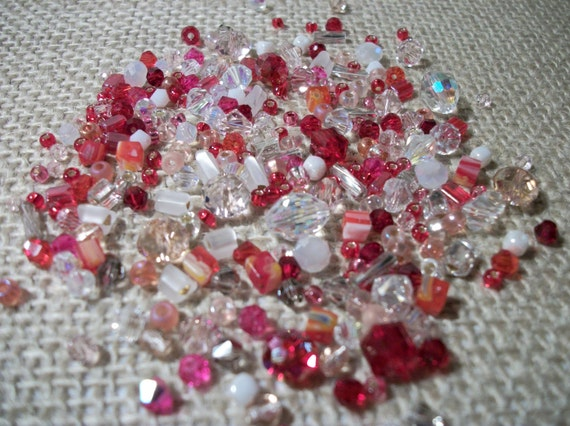 Strawberries and Cream Mix about (150) crystal beads and seed beads