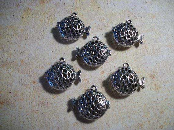 Set of (6) Tibetan Silver Fish Charm/Pendant