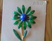 Vintage enamel flower brooch and earring set