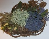 Country Basket with Purplish Blue and Green Dried Branches Wall Decor