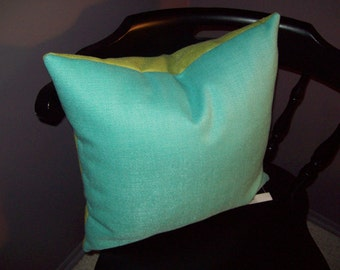 Turquoise and Lime Green Pillow