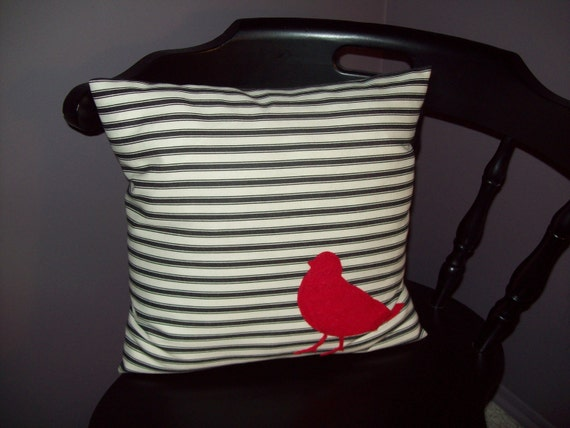 Black and White Striped Denim Pillow with Red Felt Bird