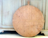 RESERVED FOR M  Antique Bread Board Round 1940s Dough Board Large Wood Vintage European// Rustic Country Decor// French Decor