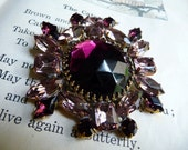 Vintage Brooch Amethyst Czech Purple Large Statement Piece// Mid Century// Hollywood Bling Glam Mad Men