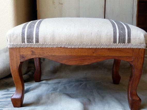 Vintage Foot Stool Wooden// Grain Sack Feed Sack Top// French// Reupholstered// Rustic Industrial