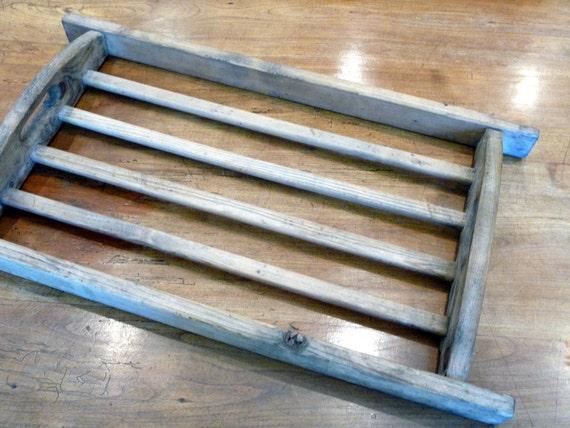 Vintage Wood Tray European Rustic Tray Handled Baker's Tray// Hand Made Tray