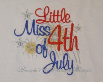Little Miss 4th of July Embroidered Shirt