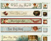 Etsy Shop Victorian Christmas Holiday Banner Set - Your Choice from 5 Pre-made Vintage Designs