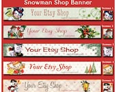 Christmas Holiday Snowman Etsy Shop  Banner Set - Your Choice from 5 Pre-made Vintage Designs