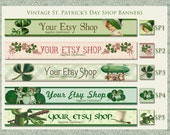 Vintage St. Patrick's Day Etsy Shop Banner Set - Your Choice from 6 Pre-made Vintage Designs