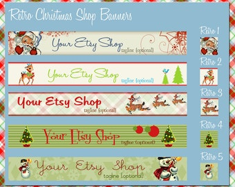 Retro Christmas Holiday Etsy Shop Banner Set - Your Choice from 5 Pre-made Vintage Designs for your Etsy shop