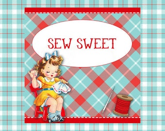 """Etsy Shop Banner Set  Set w/ New Size Cover """"Sew Sweet """"- Pre-made Cute 1950s Sewing Design - 6 Piece Set"""