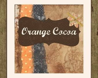 Etsy Shop Banner Set w/ New Size Cover Photo Rustic Grunge  - Pre-made Design - 6 Piece Set orange Cocoa