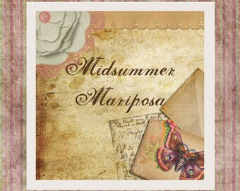 """Butterfly  Etsy Shop Banner Set w/ New Size Cover Photo - Pre-made Vintage Style Butterfly """"Midsummer Mariposa"""" - 6 Piece Set"""