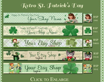 Retro St. Patrick's Day Etsy Shop Banner Set - Your Choice from 5 Pre-made Cute, Retro Designs