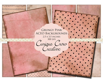 Grungy Pink Digital Collage Sheet - ACEO ATC 2.5 x 3.5 -  INSTANT Printable Download