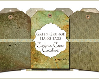 Grungy Green Hang Tags Digital Collage Sheet - 2 x 3 -  INSTANT Printable Download