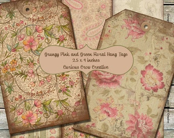 Grungy Pink and Green Vintage Floral Hang Tags Digital Collage Sheet - 2.5 x 4 Inches -  INSTANT Printable Download