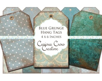 Blue Grunge Hang Tags Digital Collage Sheet - 4 x 6 Inches -  INSTANT Printable Download