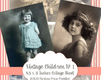 Vintage Children Digital Collage Sheet - INSTANT Printable Download - Variety of Vintage Images