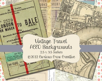 Vintage Travel Background Digital Collage Sheet - ACEO ATC 2.5 x 3.5 - INSTANT Printable Download