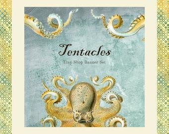 "Etsy Shop Banner Set w/ New Size Cover Photo Octopus - Pre-made Vintage Design - 6 Piece Set - ""Tentacles"""