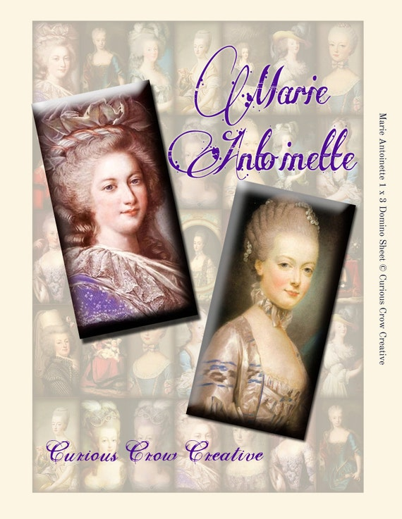 Marie Antoinette 1 x 2 inch Domino Digital Collage Sheet - INSTANT Printable Download - Jewelry, Scrapbook, Pendants