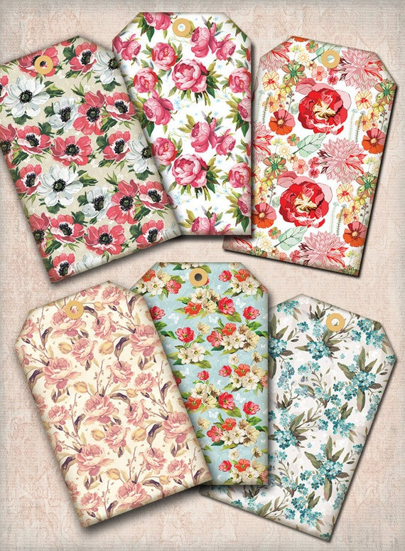 Vintage Grungy Floral Fabric Hang Tags Digital Collage Sheet - 2.5 x 4 -  INSTANT Printable Download