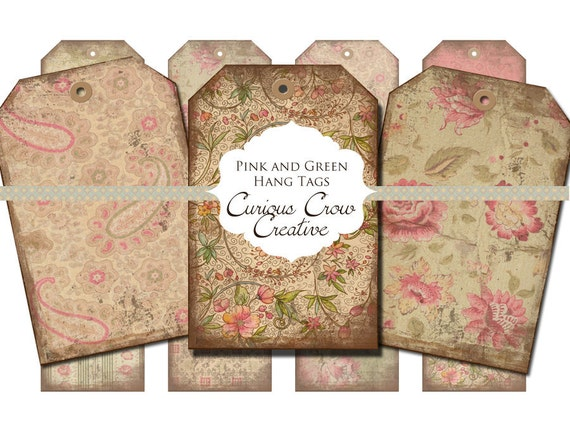 Grungy Pink and Green Floral Hang Tags Digital Collage Sheet - 2 x 3 -  INSTANT Printable Download Tags, Scrapbooking